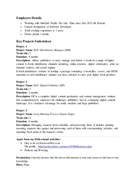 Resume Bullet Points With Periods Tanveer Alam Resume