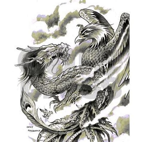dragon phoenix tattoo a4 flip flops by