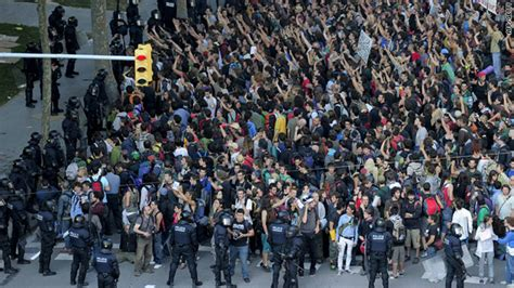 barcelona unrest protests over austerity measures injure 36 in barcelona