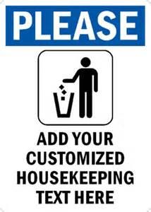 Design My Own Kitchen Free custom housekeeping please drop trash in bin sign sku s