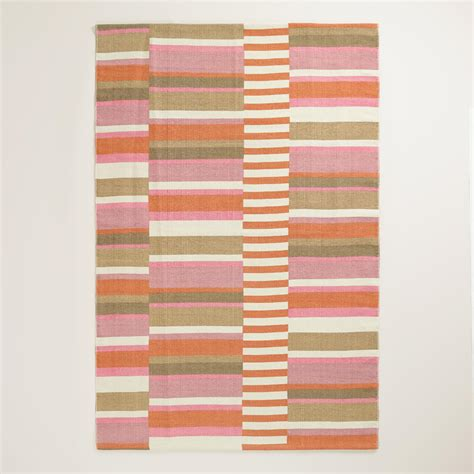 Outdoor Rugs World Market 4 X6 Pink Placed Stripe Indoor Outdoor Rug World Market