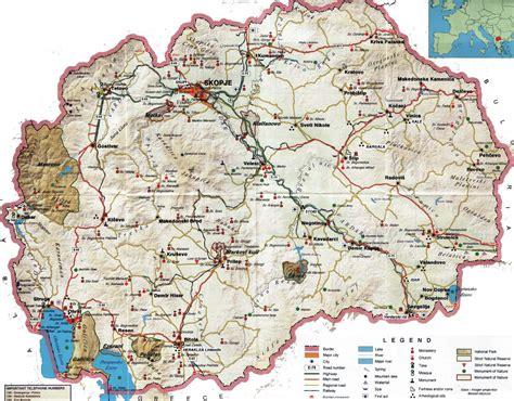 tourist map of detailed tourist map of macedonia macedonia europe