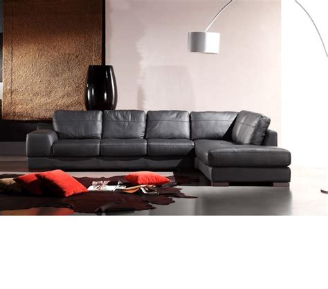 Furniture Black Sectional by Dreamfurniture Italia Leather 260 Sectional Sofa In Black