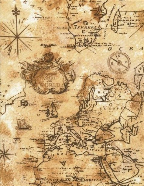 Old World Map Fabric by Timeless Treasures World Map Fabric In Sand By The Yard