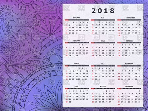 Calendar 2018 With Abstract Purple Background Royalty Free