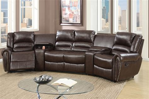 theatre with couches 5 pcs reclining home theater brown sectional