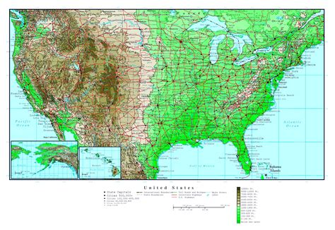 map of the united states with major highways large detailed elevation map of the usa with roads and