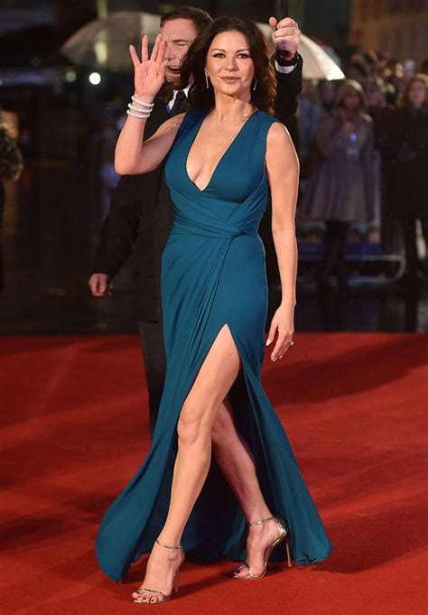 catherine zeta jones looks daring in stuart weitzman