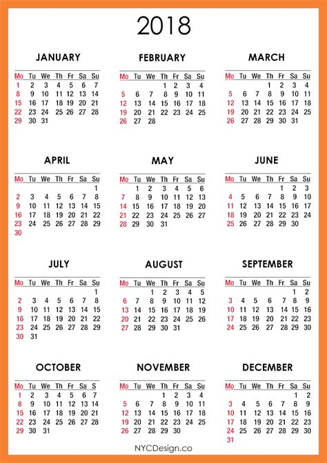 Printable Calendar 2018 With Holidays | 2018 calendar printable 2018 calendar with holidays
