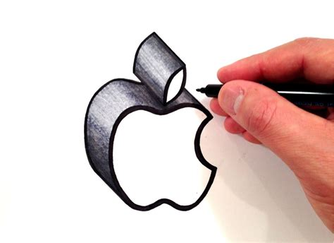 how to draw the apple logo in 3d