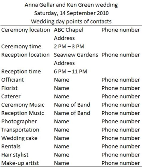 wedding day timeline sle and template budget brides