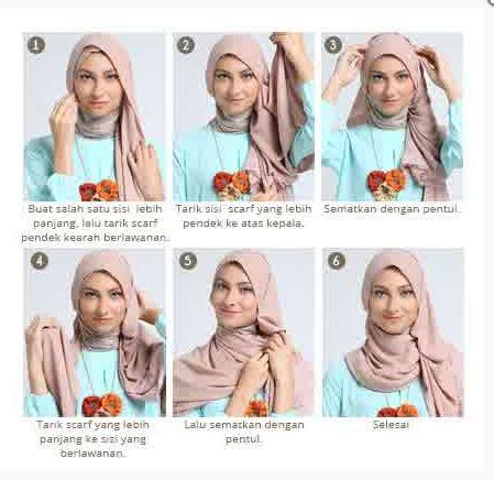 gambar tutorial berhijab yang simpel contoh gambar tutorial hijab modern simpel terbaru 2016