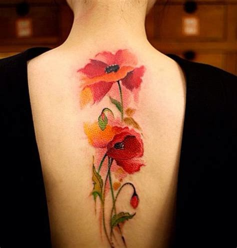 watercolor back tattoo the gallery for gt poppy tattoo shoulder