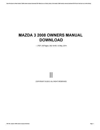 online service manuals 2009 mazda mazda3 user handbook mazda 3 2008 owners manual download by mnode394 issuu