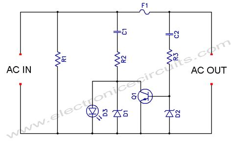 led blown ac fuse indicator circuit diagram electronic