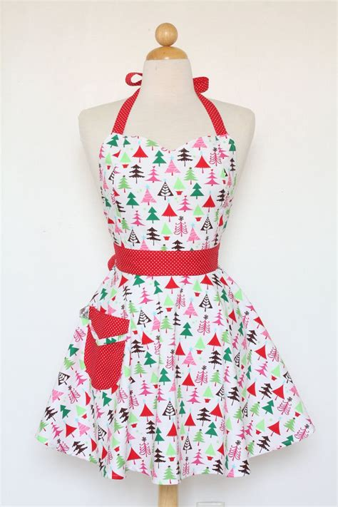 retro apron sweetheart neckline colorful christmas trees