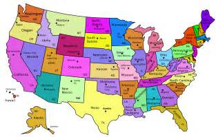 map of united states with capitals and cities the purple teapot states and capitals