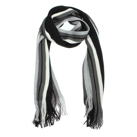 stripe fringed knitted wool casual scarf