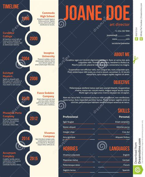 Free Job Resume Templates by Modern Resume Cv Template Beginning With Timeline Stock