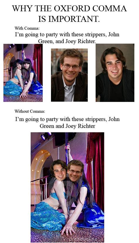 Oxford Comma Meme - oxford comma meme joey richter starkid john green oxford