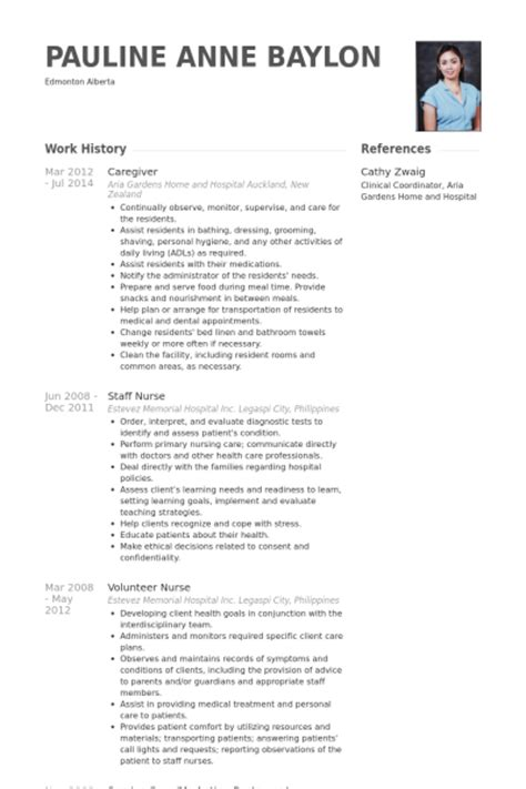 Resume For Caregiver Work Caregiver Resume Sles Visualcv Resume Sles Database