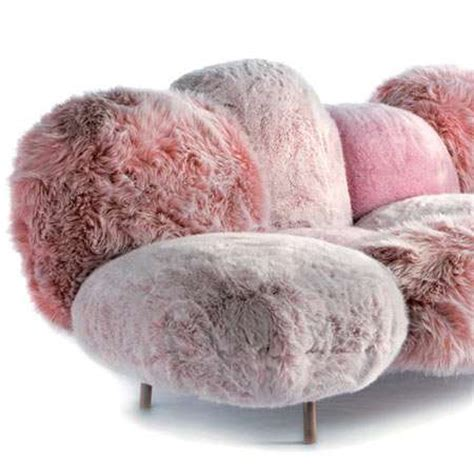 furry sofa faux fur sofas fluffy multi pillowed cloud couches by