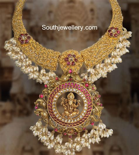 Gold Angti Disain by Antique Gold Necklace With Ganesh Pendant Jewellery Designs