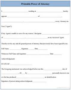 free printable power of attorney template printable power of attorney form sle printable power