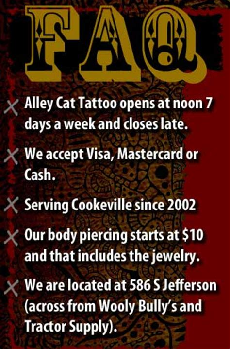 alley cat tattoo shop tattoos and body piercing