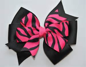 hair bow black pink zebra hair bow layered zebra hair bow