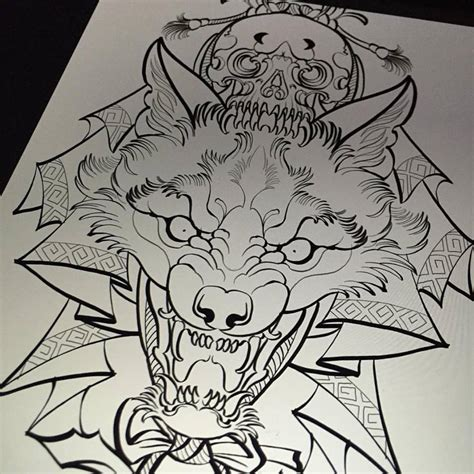 wolf head tattoo design awesome with two wolf design