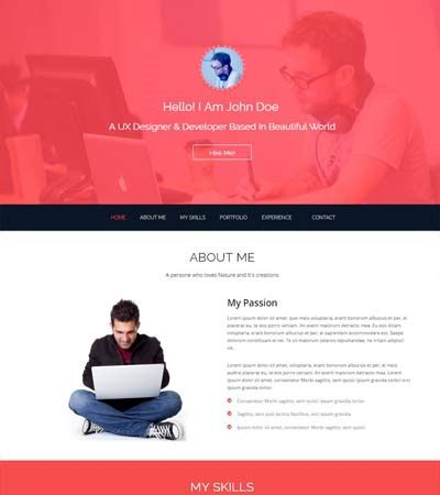 Bootstrap One Page Template Free Resume Template Personal Page Template Bootstrap