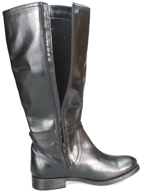 real leather knee high black or brown block heel