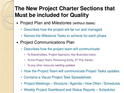 project charter sections the project charter ensuring quality