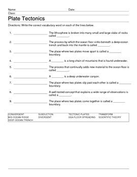 Volcanoes And Plate Tectonics Worksheet by All Worksheets 187 Plate Tectonics Worksheets Printable
