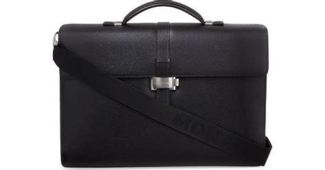 Montblanc Black Leather Briefcase Westside Gusset montblanc westside gusset briefcase in black lyst