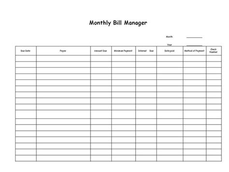 monthly bill reminder worksheet printable free worksheet