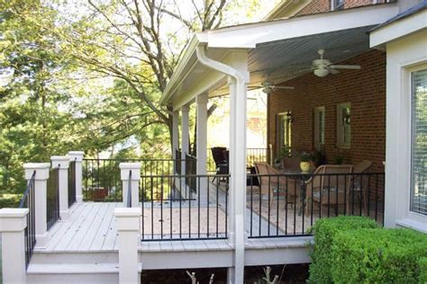 covered porch future back deck deck ideas pinterest vinyls decks