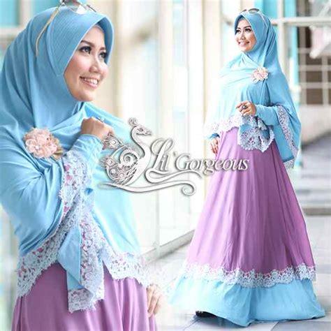 Terlaris Gamis Syari Vina Lavender Ungu Baju Gamis Pesta Mode Baju M renda biru ungu lavender baju muslim gamis modern