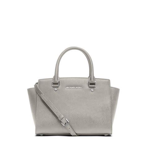 grey leather satchel michael kors selma medium saffiano leather satchel in gray lyst