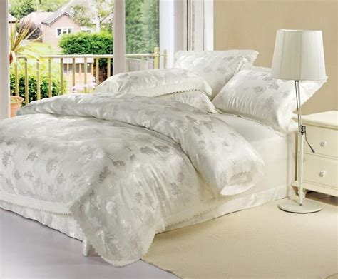 white queen size comforter sets home textile white gold blue lace jacquard comforter
