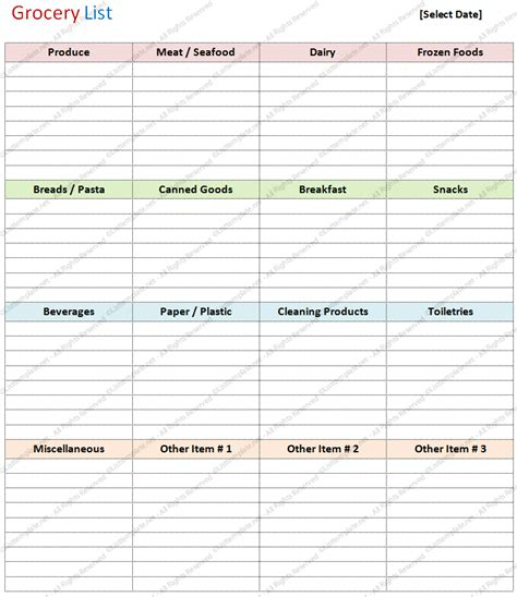 blank grocery list template basic format list