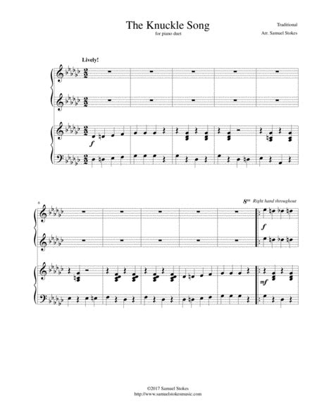 song duet the knuckle song for piano duet sheet by