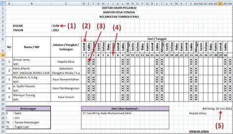 format absensi satpam membuat daftar hadir otomatis dengan microsoft excel