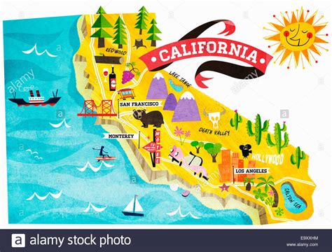 map of tourist attractions map of tourist attractions in california stock photo