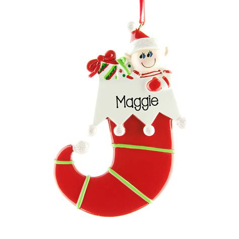 elf in a stocking personalised hanging christmas