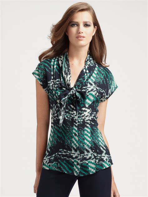 plaid tie neck blouse escada plaid tie neck blouse in green plaid lyst