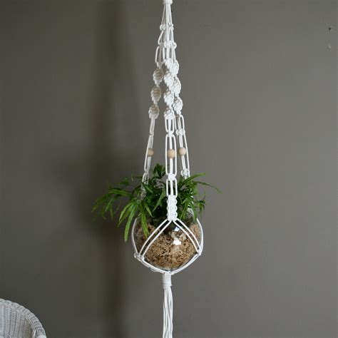 Macrame Plant Holder Tutorial - white macrame plant hanger by the knot studio miss v