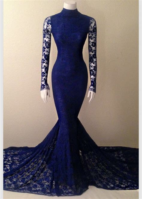 Floor Pln by Navy Blue Lace High Neck Mermaid Evening Gown With Long