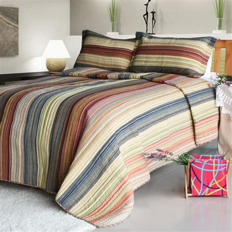 striped quilts and coverlets enthusiasm desert 2 cotton 3pc vermicelli quilted